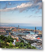City Of Barcelona From Above At Sunset Metal Print