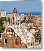 City Of Barcelona From Park Guell Metal Print