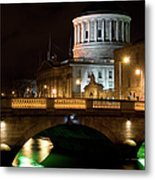 City Of Dublin At Night In Ireland Metal Print