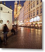 City Of Krakow By Night In Poland Metal Print
