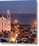 City Of Lisbon In Portugal At Night Metal Print