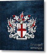 City Of London - Coat Of Arms Over Blue Leather  Metal Print