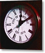 City Of Martinez California Town Clock - 5d20862 - Painterly Metal Print by Wingsdomain Art and Photography