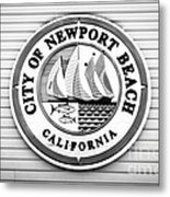 City Of Newport Beach Sign Black And White Picture Metal Print