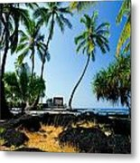 City Of Refuge - A View Of A Hawaiian Traditional House  Metal Print