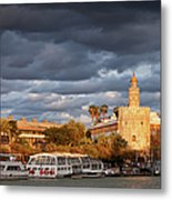 City Of Seville At Sunset Metal Print