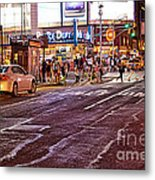 City Scene - Crossing The Street - The Lights Of New York Metal Print
