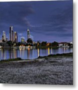 City Skyline At Night Metal Print