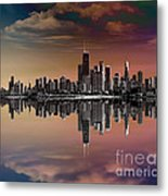 City Skyline Dusk Metal Print by Bedros Awak