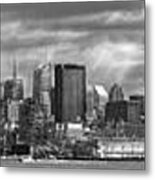 City - Skyline - Hoboken Nj - The Ever Changing Skyline - Bw Metal Print by Mike Savad