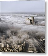 City Skyscrapers Above The Clouds Metal Print