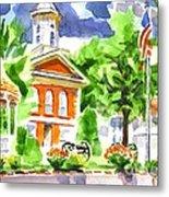 City Square In Watercolor Metal Print