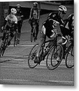 City Street Cycling Metal Print