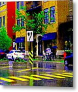 City Street Relections In The Rain Quebec Art Colors And Seasons Montreal Scenes Carole Spandau Metal Print