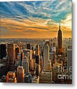 City Sunset New York City Usa Metal Print by Sabine Jacobs