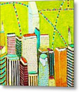 City With Green Metal Print