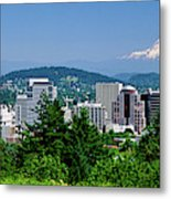 City With Mt. Hood In The Background Metal Print