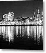 Cityscape In Black And White - Philadelphia Metal Print