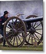 Civil War Reenactor Firing A Revolver Metal Print