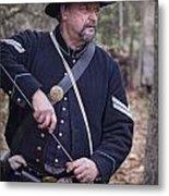 Civil War Union Soldier Reenactor Loading Musket Metal Print