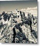 Civita Di Bagnoregio Tuscany On Plateau Of Friable Volcanic Tuff Metal Print