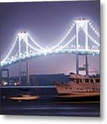 Claiborne Pell Bridge At Night Metal Print