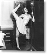 Clair Luce Exercising On Radio Metal Print