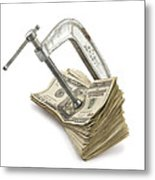 Clamp Putting Pressure On American Money Concept Metal Print