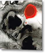 Clarity - Black And White Art Red Painting Metal Print