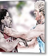 Clash Of The Titans 1984 - Bird And Doctor  J Metal Print by Reggie Duffie