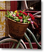 Classic Bicycle With Tulips Metal Print