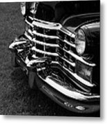 Classic Cadillac Sedan Black And White Metal Print