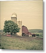 Classic Farm With Red Barn And Silos Metal Print