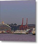 Classic Full Moon And Ferries Panorama Metal Print