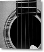 Classic Guitar In Black And White Metal Print