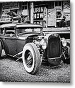 Classic Hot Rod In Black And White Metal Print