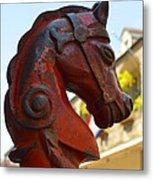 Classic Red Horsehead Post Metal Print