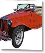 Classic Red Mg Tc Convertible British Sports Car Metal Print
