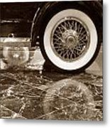 Classic Wheels Sepia Metal Print