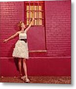 Classy Diva Standing In Front Of Pink Brick Wall  Metal Print