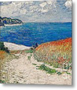 Claude Monet's Path In The Wheat Fields At Pourville-1882 Metal Print