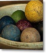 Clay Marbles In Bowl Metal Print