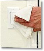 Cleaning A Light Switch Metal Print