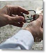 Cleaning Her Eyeglasses Metal Print