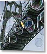 Cleaning The Bridge With Bubbles Metal Print