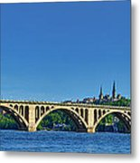 Clear Blue Skies At Key Bridge Metal Print