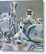Clear Glass Bottles Metal Print