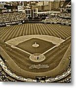 Cleveland Baseball In Sepia Metal Print