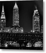Cleveland Black And White Night Metal Print