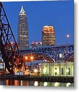 Cleveland Blue Hour Panoramic Metal Print